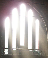 Light streaming through church window