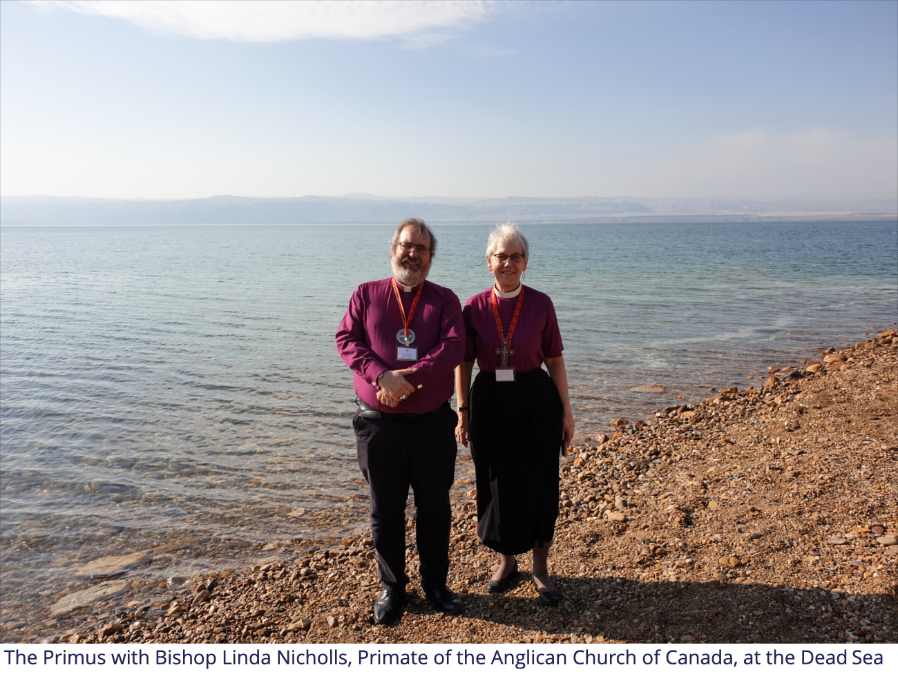 The Primus with Bishop Linda Nicholls, Primate of the Anglican Church of Canada, at the Dead Sea